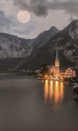 85167壁紙のダウンロード自然, 寺院, 寺, 湖, 点灯, 照明, ハルシュタット, オーストリア, 山脈-スクリーンセーバーと写真を無料で
