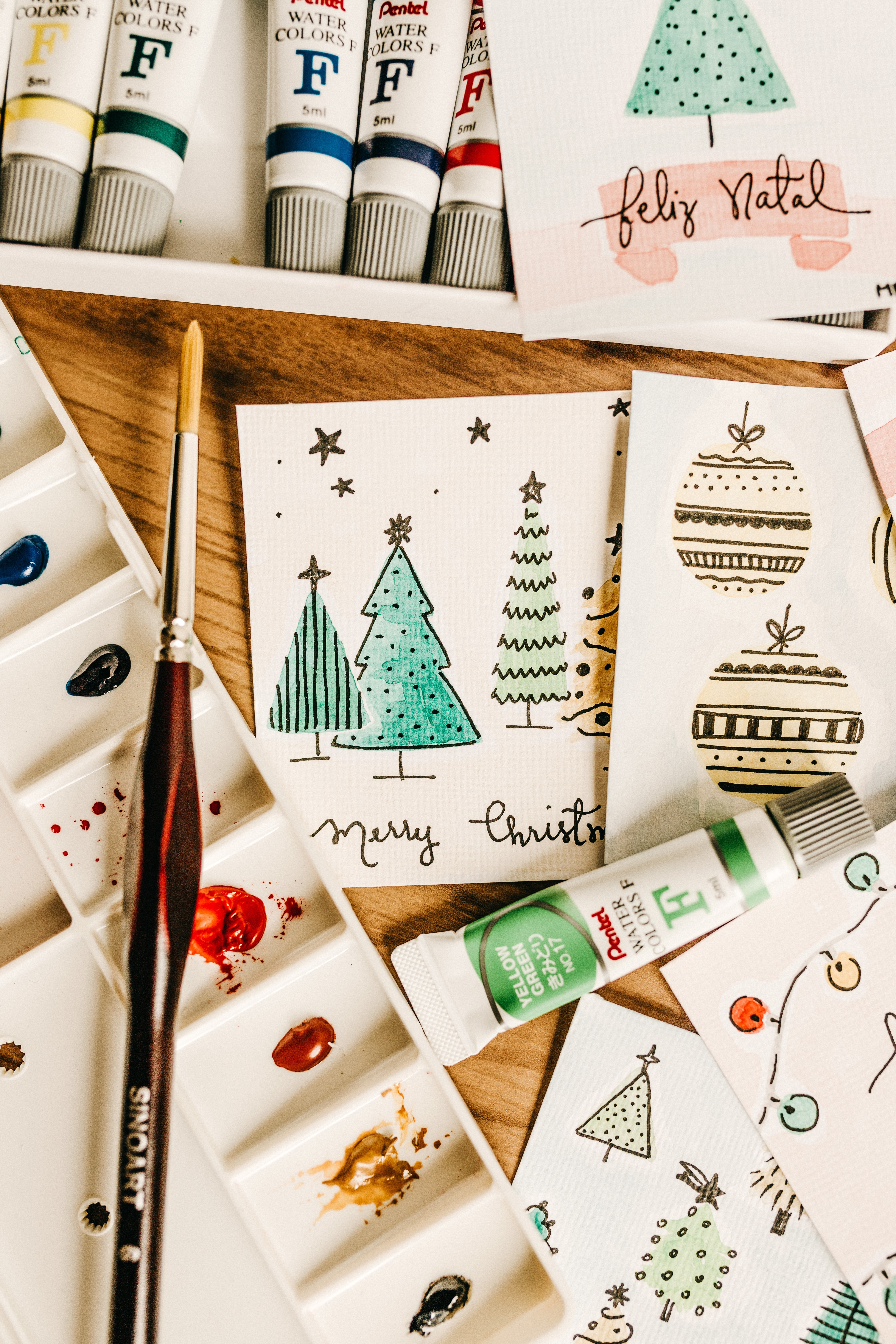 107033 скачать обои Праздники, Краски, Кисточка, Рисование, Рождество, Новый Год, Открытки - заставки и картинки бесплатно