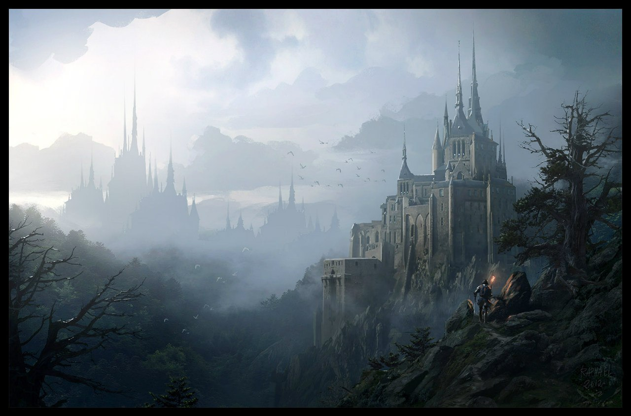 22680 download wallpaper Landscape, Fantasy, Mountains, Castles, Pictures screensavers and pictures for free
