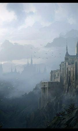 22680 descargar fondo de pantalla Paisaje, Fantasía, Montañas, Castillos, Imágenes: protectores de pantalla e imágenes gratis