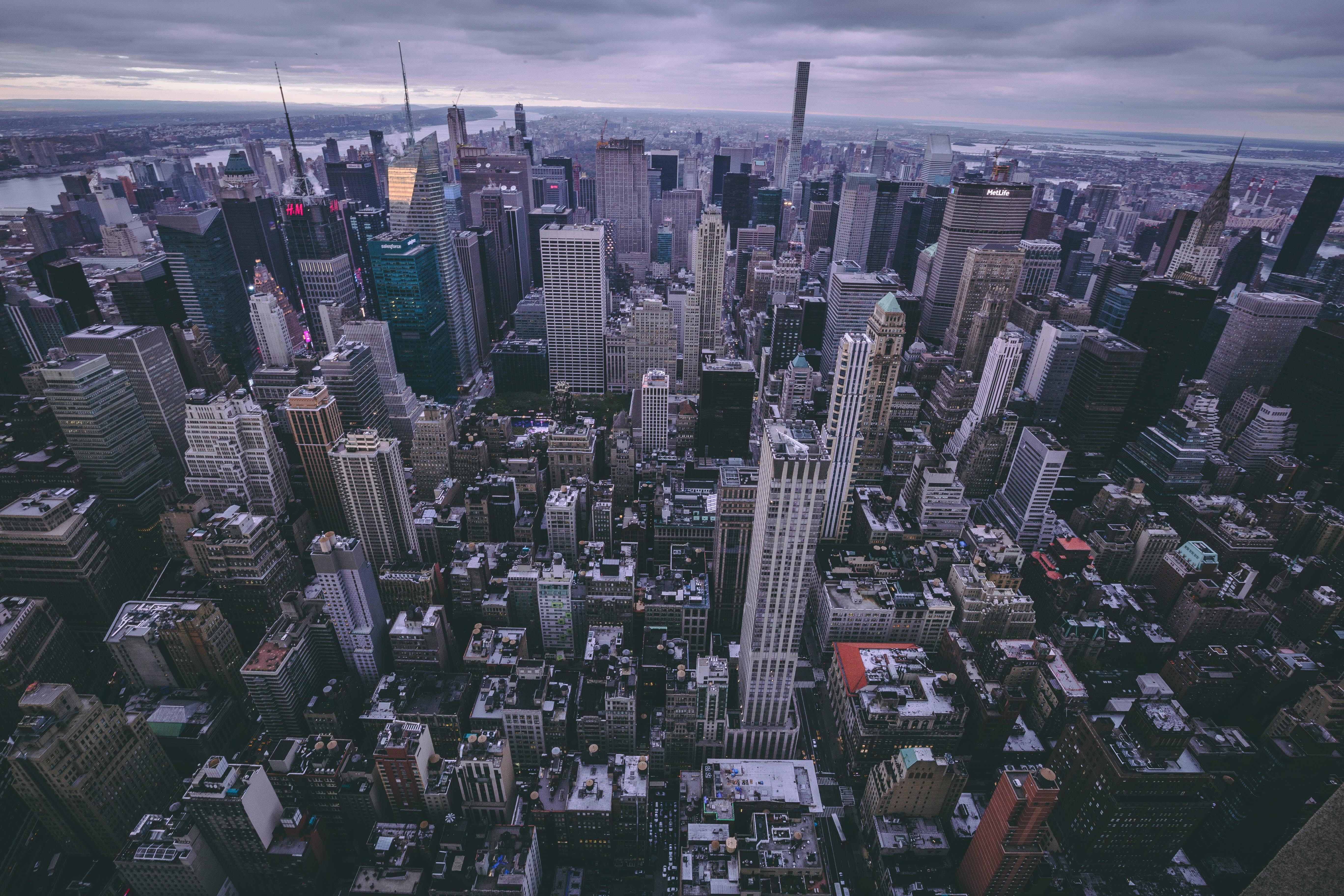 87765 免費下載壁紙 纽约, 美国, 摩天大楼, 从上面看, 顶视图, 城市 屏保和圖片