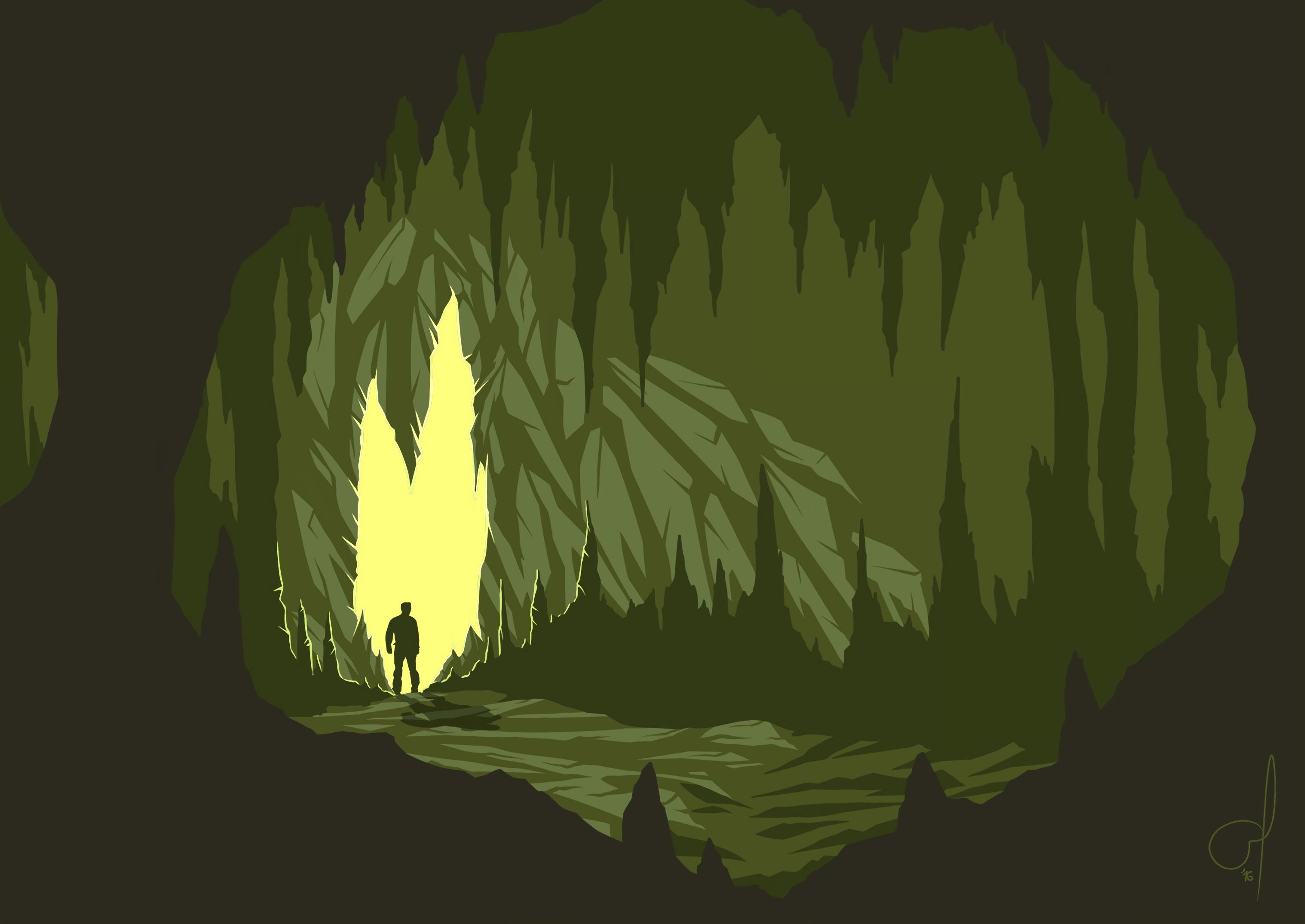 88495 Hintergrundbild herunterladen Kunst, Vektor, Dunkel, Silhouette, Höhle - Bildschirmschoner und Bilder kostenlos