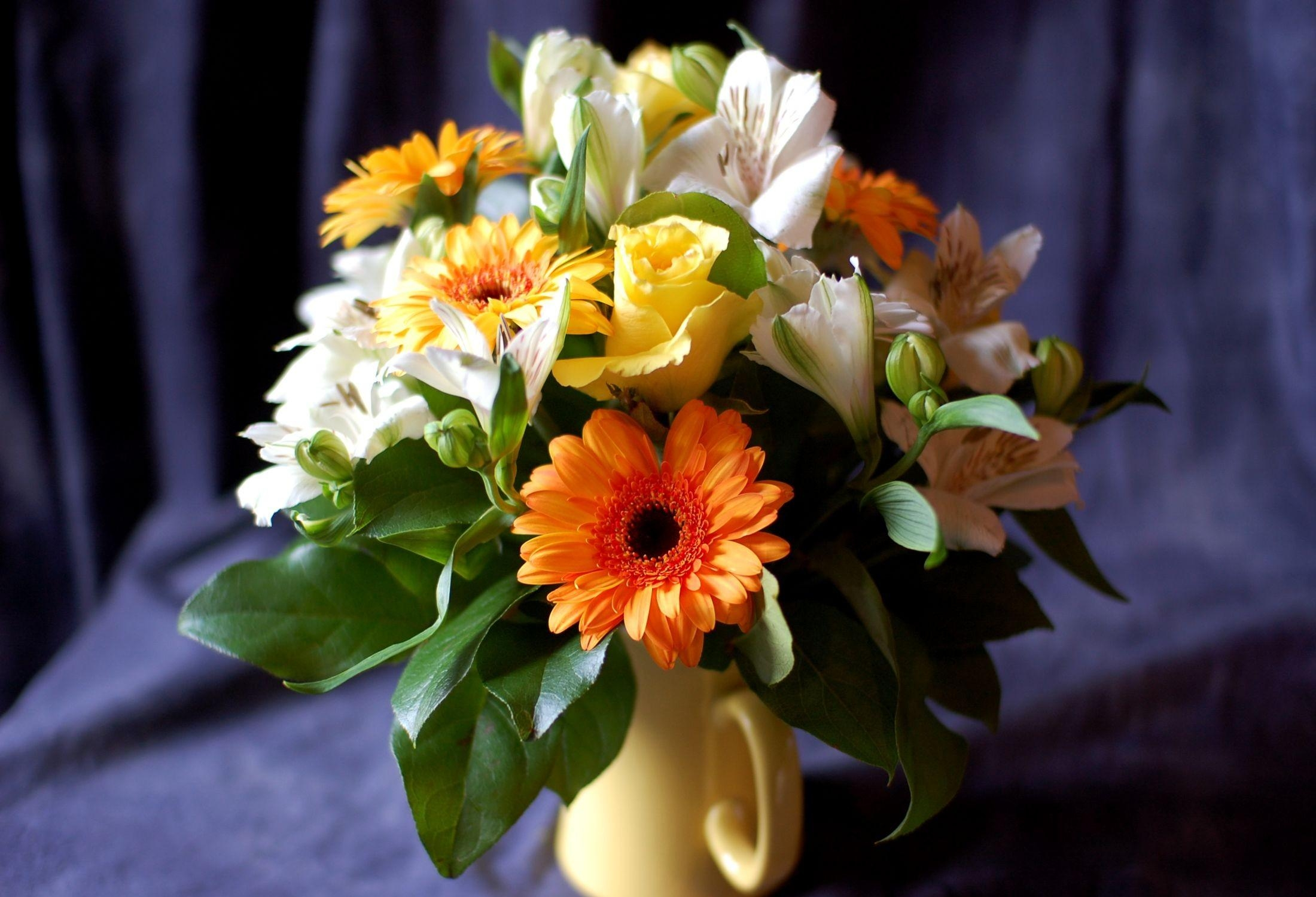117281 download wallpaper Flowers, Alstroemeria, Leaves, Bouquet, Roses, Gerberas screensavers and pictures for free