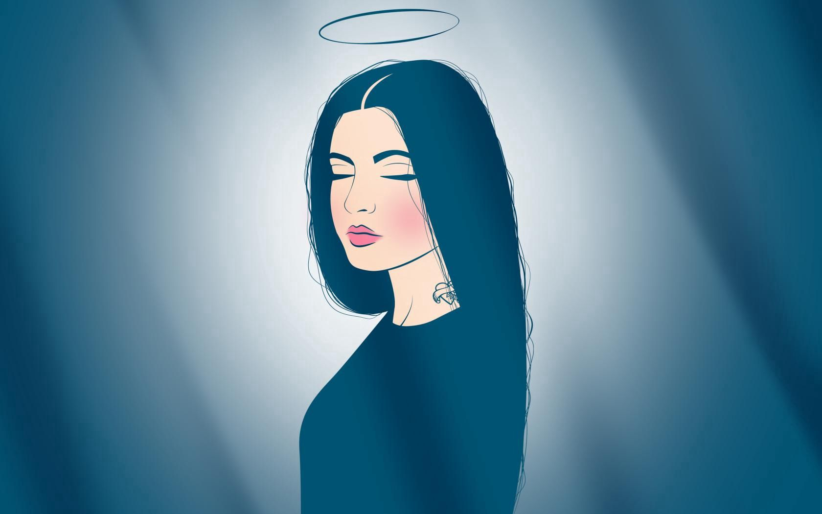 72523 download wallpaper Vector, Tattoo, Dream, Angel, Calmness, Tranquillity, Lips, Nimbus screensavers and pictures for free