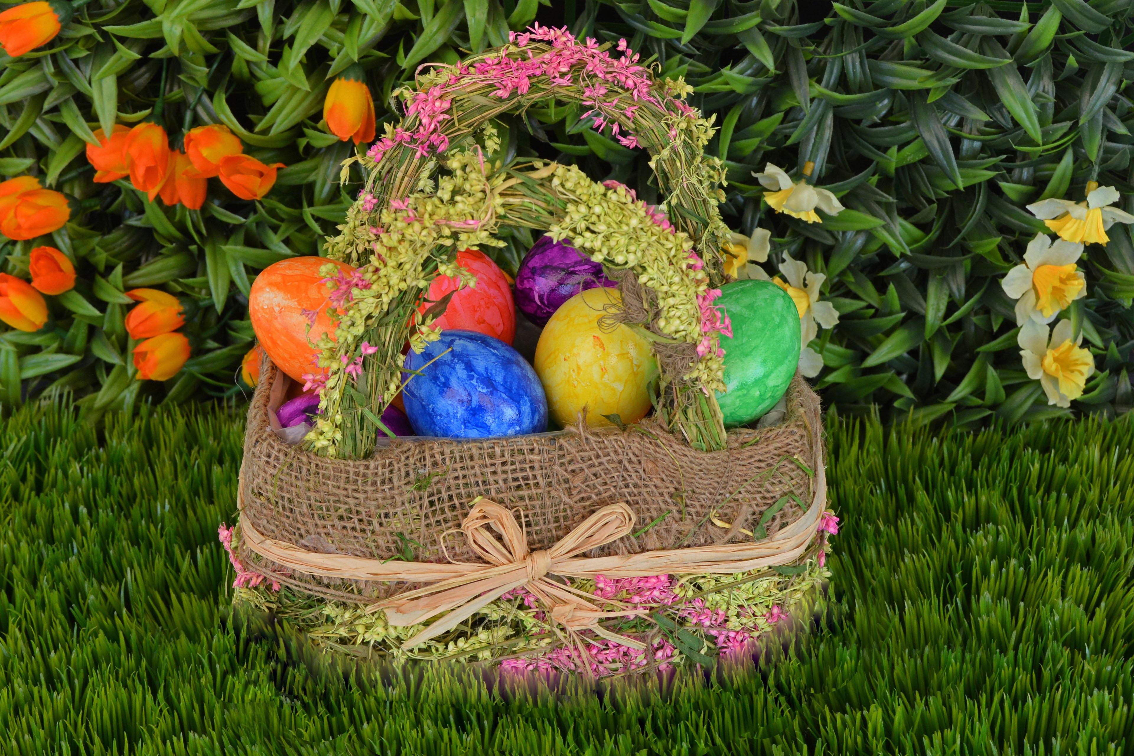 98145 descargar fondo de pantalla Vacaciones, Huevos De Pascua, Cesta, Canasta, Pascua, Huevos: protectores de pantalla e imágenes gratis