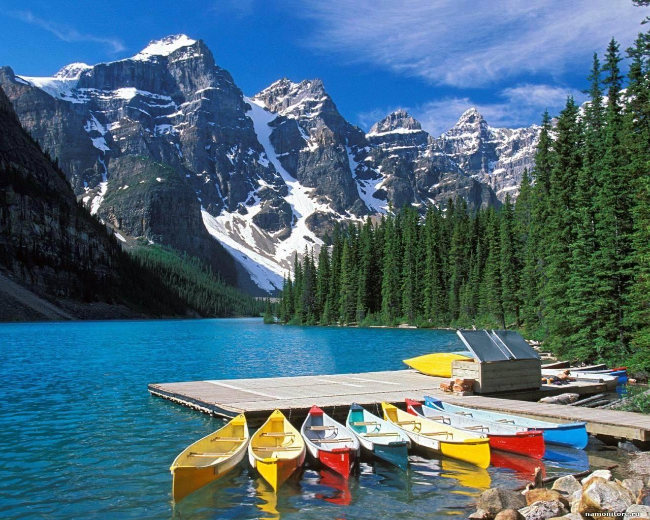 13537 télécharger le fond d'écran Paysage, Eau, Arbres, Montagnes, Lacs, Bateaux - économiseurs d'écran et images gratuitement