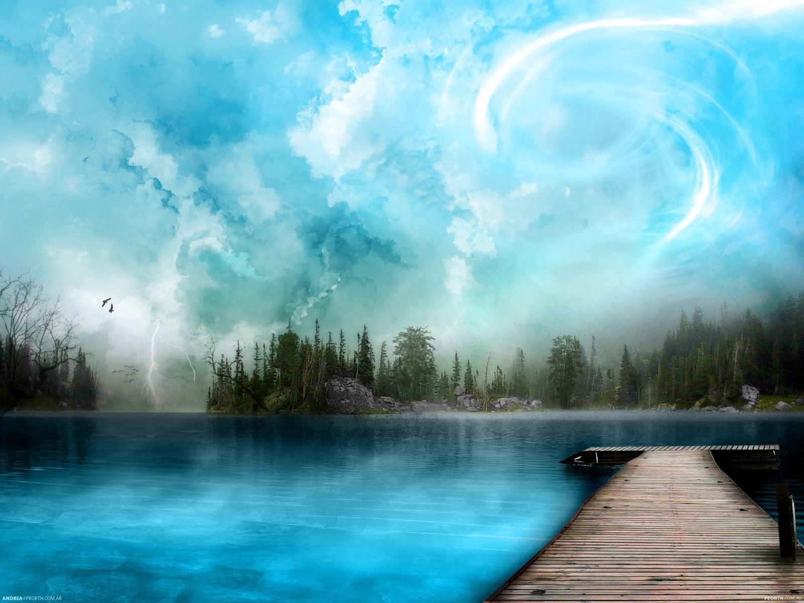 1061 скачать обои Пейзаж, Вода, Мосты, Небо, Арт - заставки и картинки бесплатно