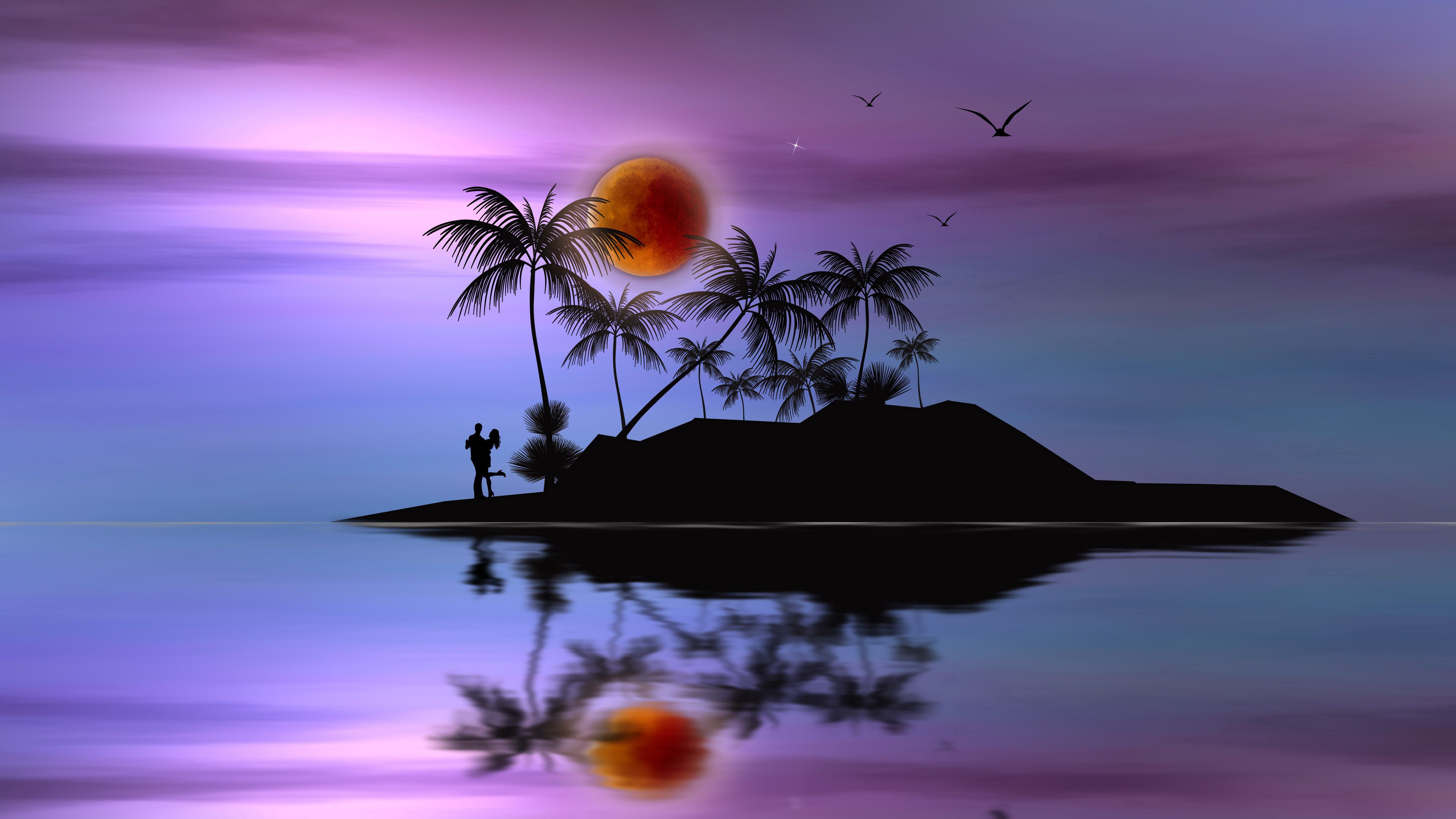 73223 Заставки и Обои Вектор на телефон. Скачать Вектор, Луна, Пальмы, Любовь, Пара, Силуэты, Остров картинки бесплатно