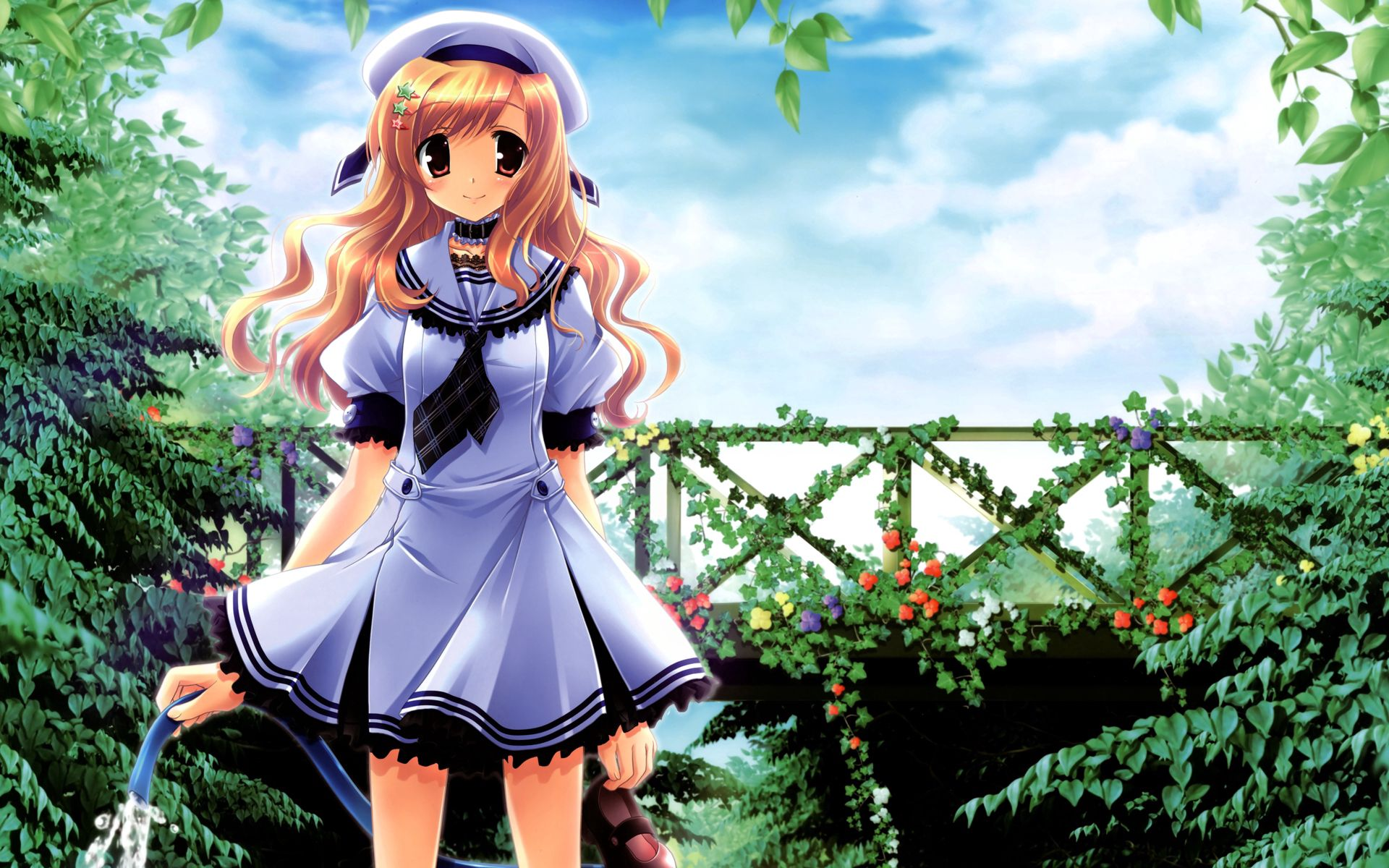 54751 Screensavers and Wallpapers Pretty for phone. Download Anime, Smile, Girl, Garden, Pretty, Watering, Irrigation, Hose, Greenhouse pictures for free