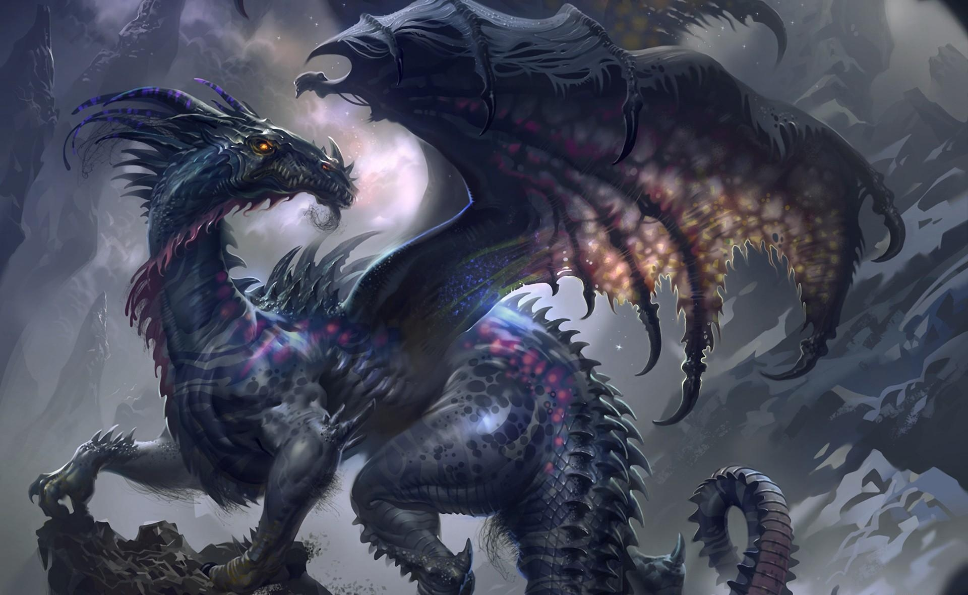 73647 download wallpaper Fantasy, Dragon, Wings, Profile, Rocks screensavers and pictures for free