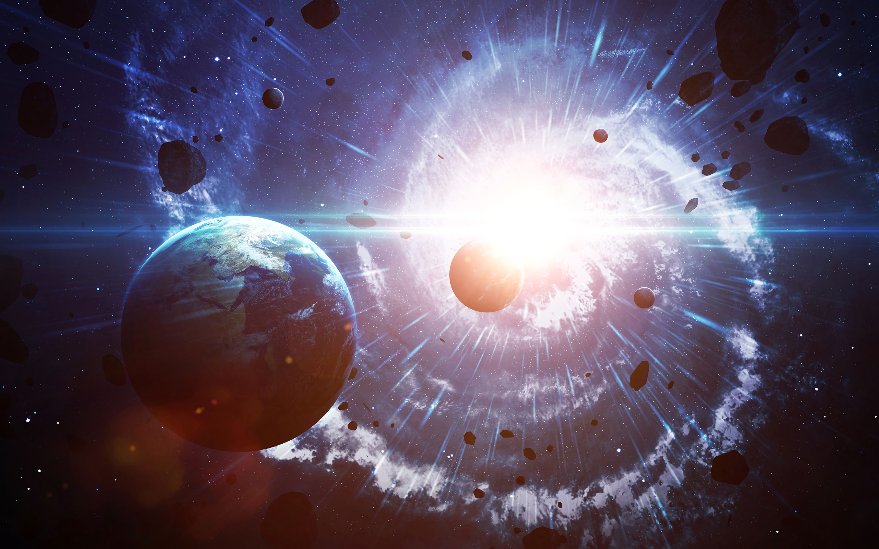 135245 download wallpaper Land, Earth, Planet, Asteroids, Beams, Rays, Glow, Universe screensavers and pictures for free