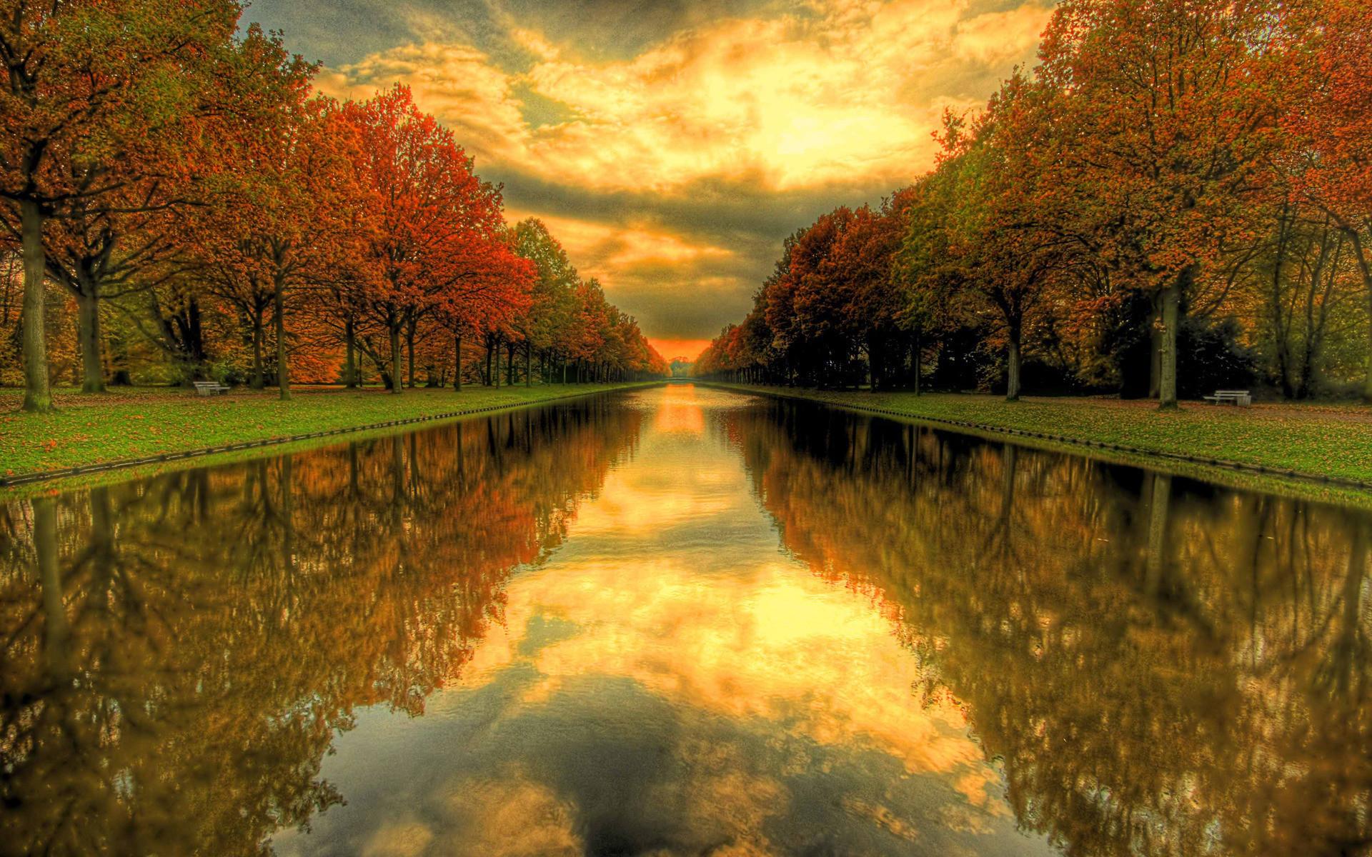 20757 скачать обои Пейзаж, Река, Деревья, Закат, Осень - заставки и картинки бесплатно