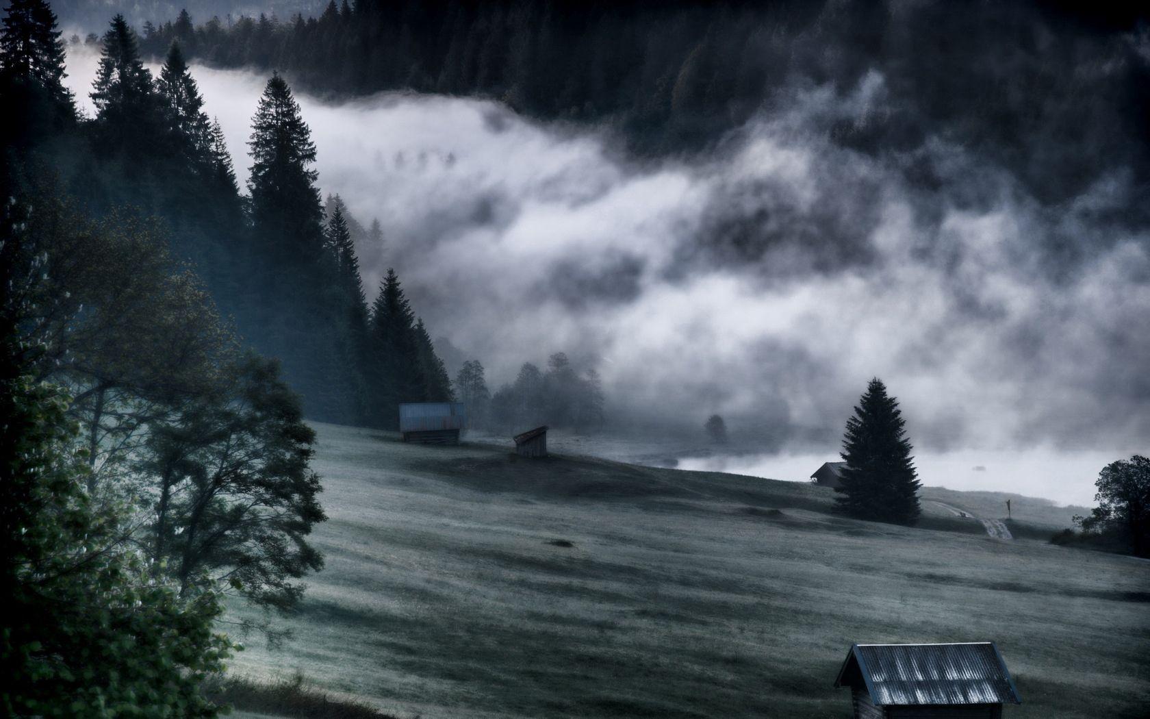 101471 baixar papel de parede Natureza, Névoa, Nevoeiro, Sombrio, Preto E Branco, Montanhas - protetores de tela e imagens gratuitamente