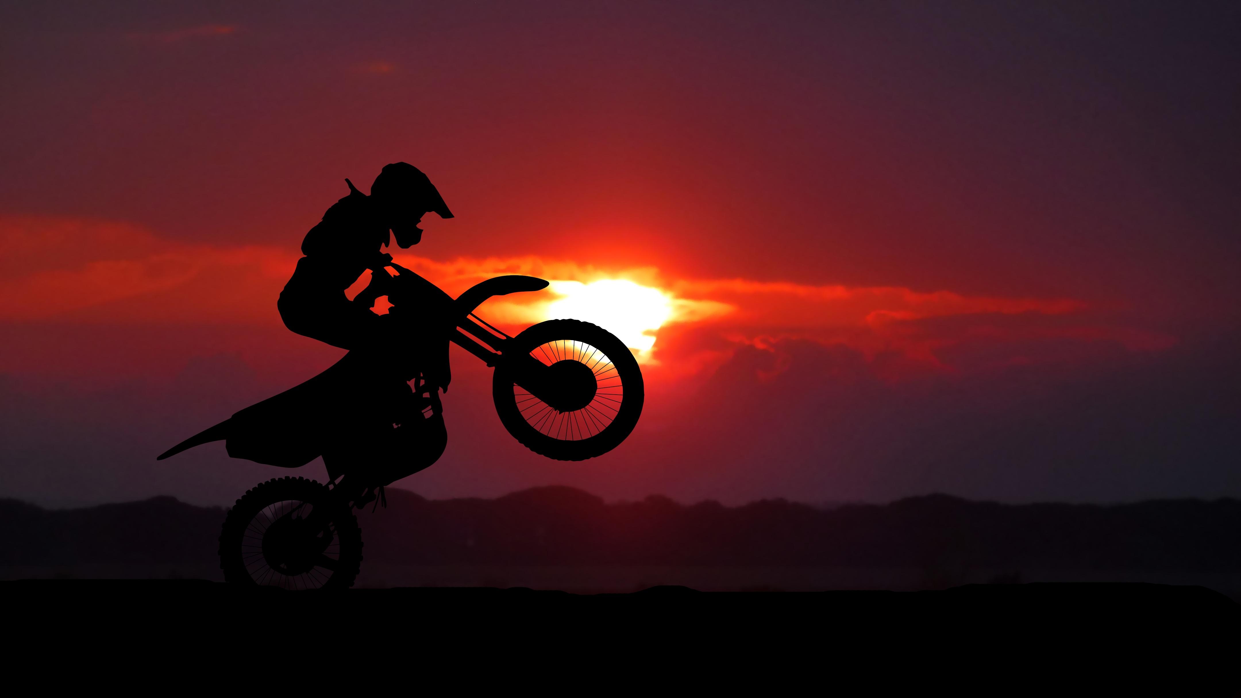 93131 скачать обои Мотоциклы, Мотоцикл, Мотоциклист, Кросс, Трюк, Силуэт, Закат - заставки и картинки бесплатно