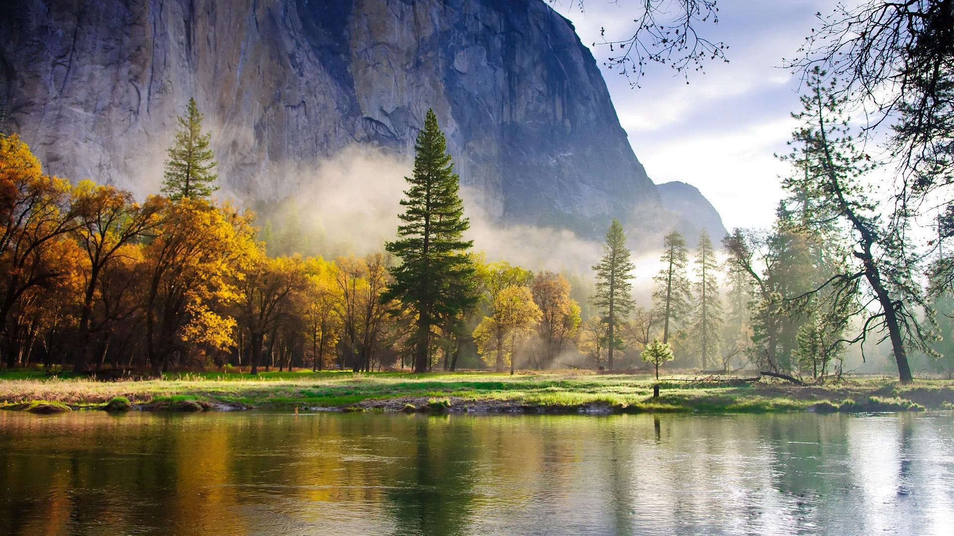 26998 скачать обои Пейзаж, Река, Деревья, Горы - заставки и картинки бесплатно