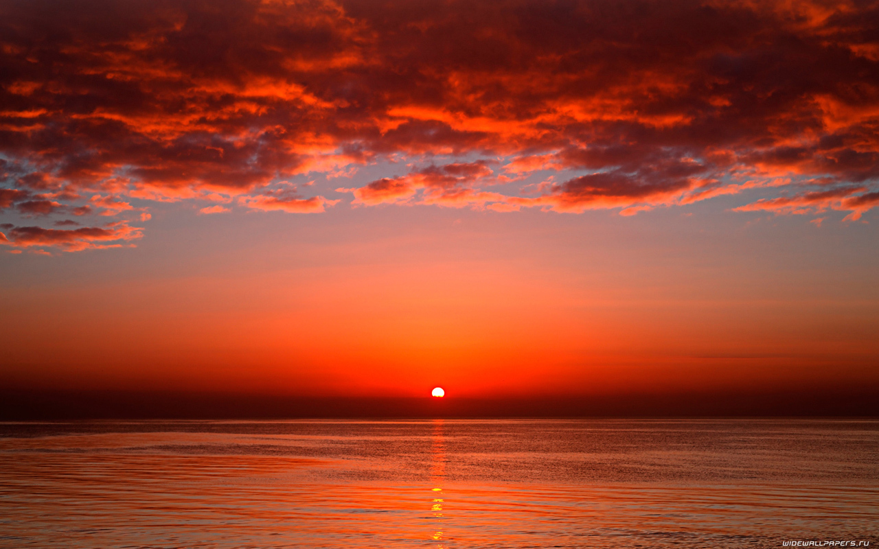 22343 download wallpaper Landscape, Sunset, Sea, Sun, Clouds screensavers and pictures for free