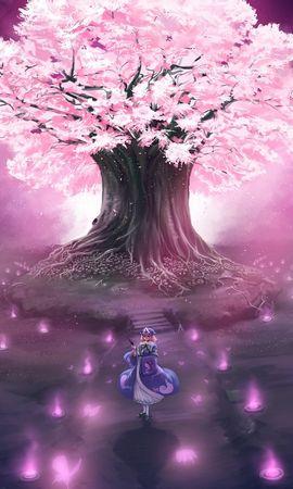 21844 скачать Фиолетовые обои на телефон бесплатно, Аниме, Девушки, Сакура Фиолетовые картинки и заставки на мобильный