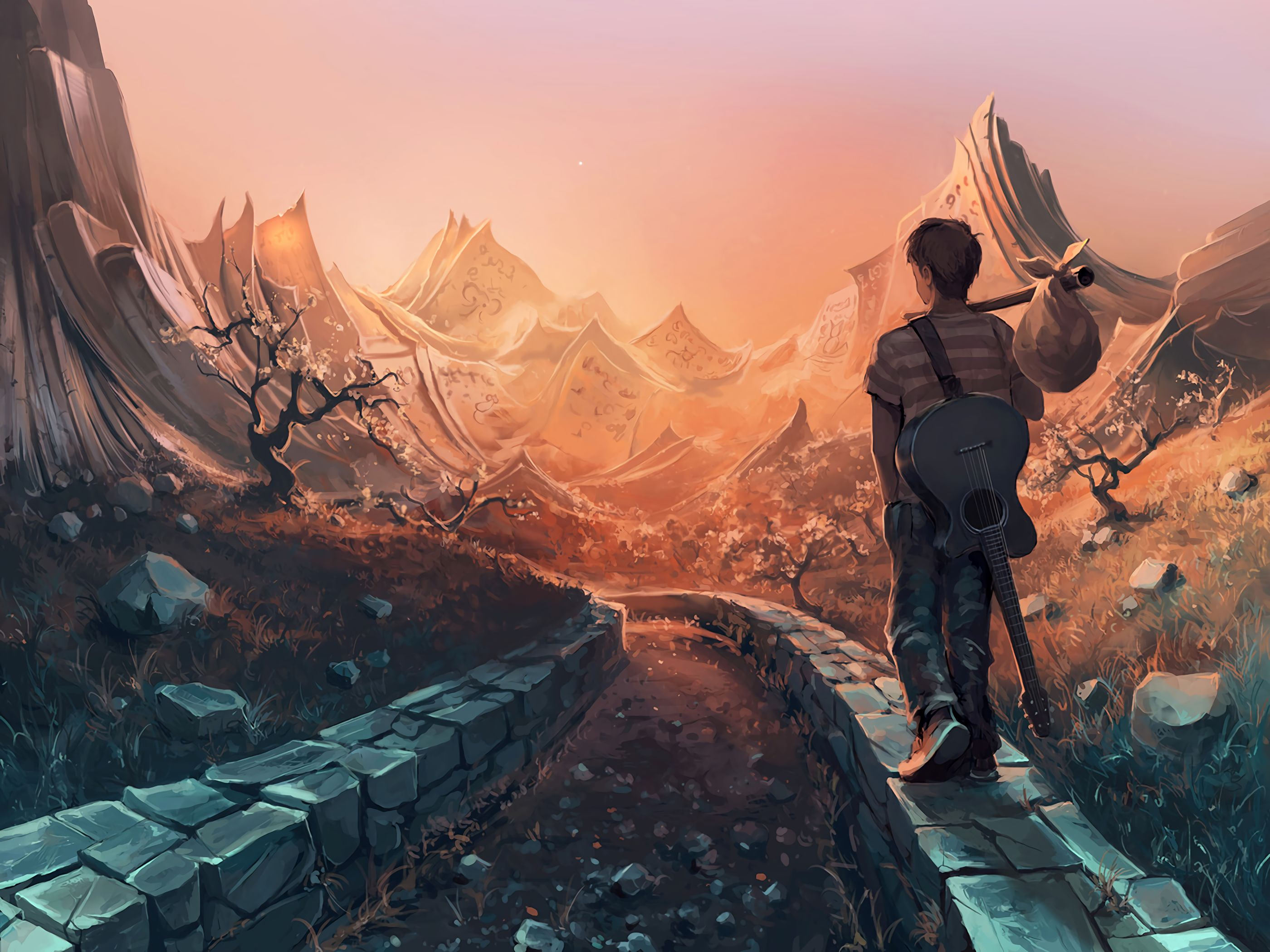129873 download wallpaper Art, Journey, Guitar, Guy screensavers and pictures for free