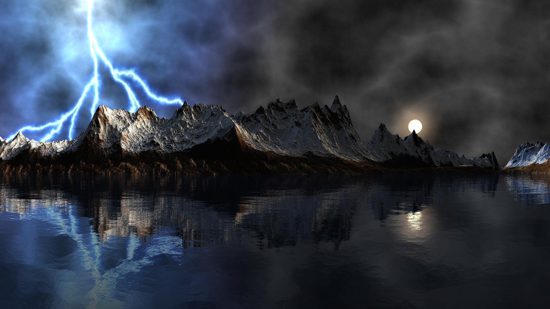 Скачать картинку Горы, Пейзаж, Молнии, Озера в телефон бесплатно.