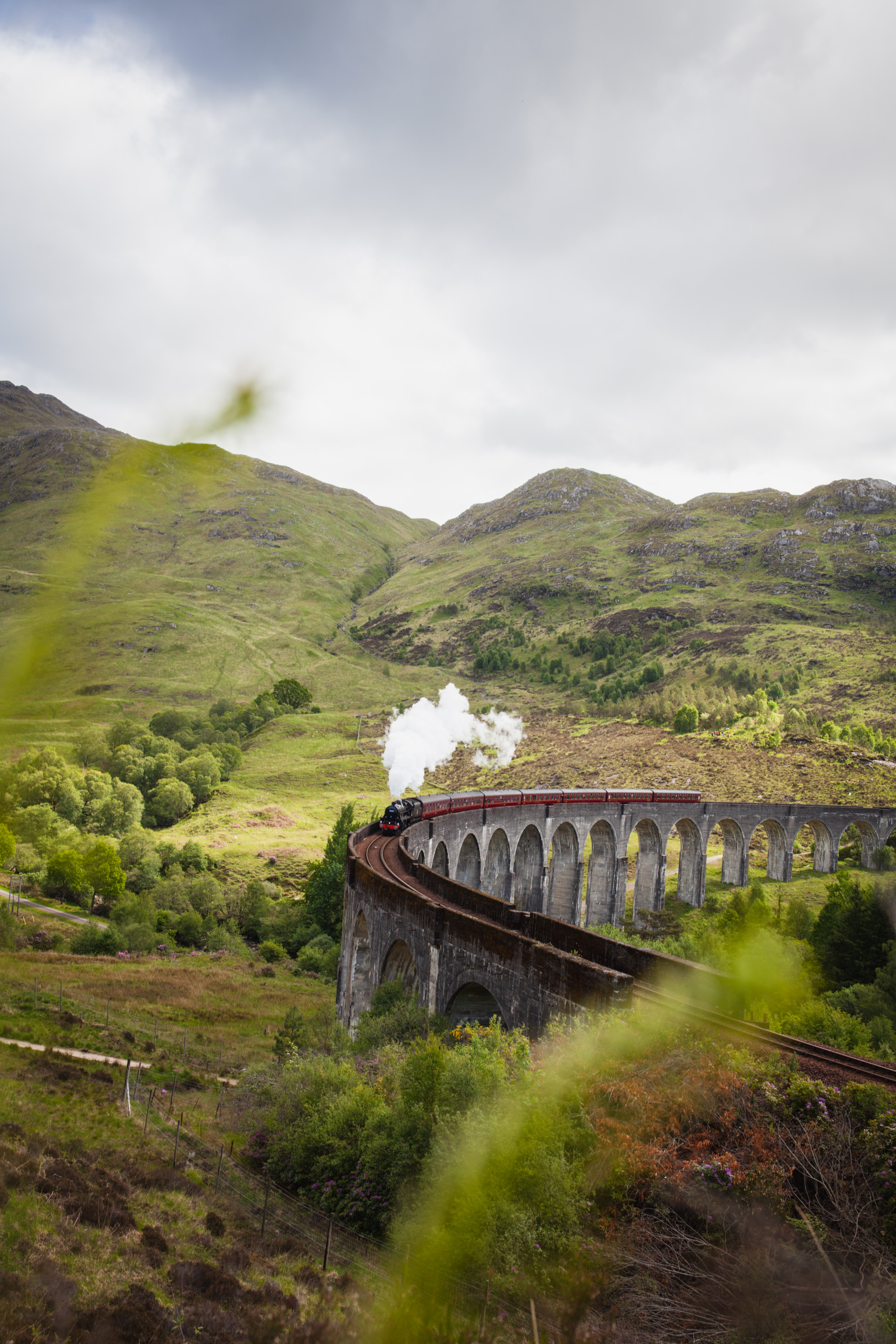 144396 Screensavers and Wallpapers Train for phone. Download Nature, Smoke, Hills, Bridge, Railway, Train pictures for free