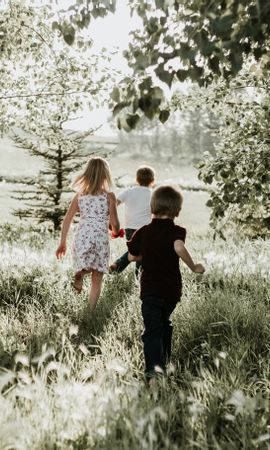 94193 Заставки и Обои Дети на телефон. Скачать Разное, Дети, Трава, Солнечный Свет, Прогулка картинки бесплатно