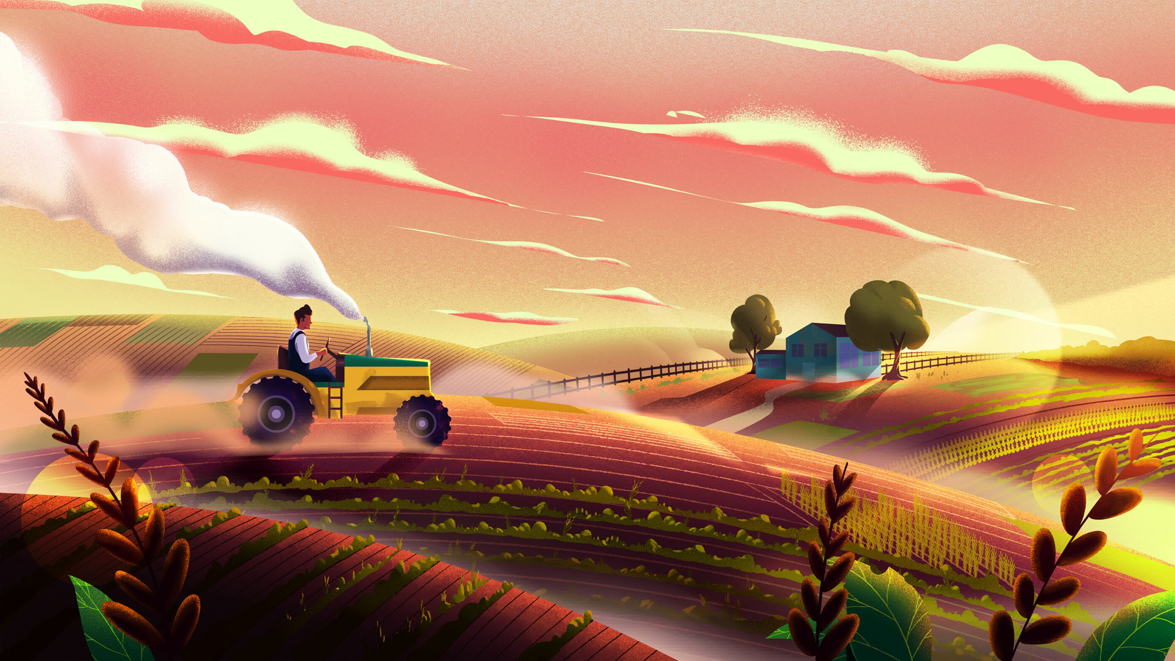98305 Screensavers and Wallpapers Agriculture for phone. Download Art, Vector, Field, Tractor, Agriculture pictures for free