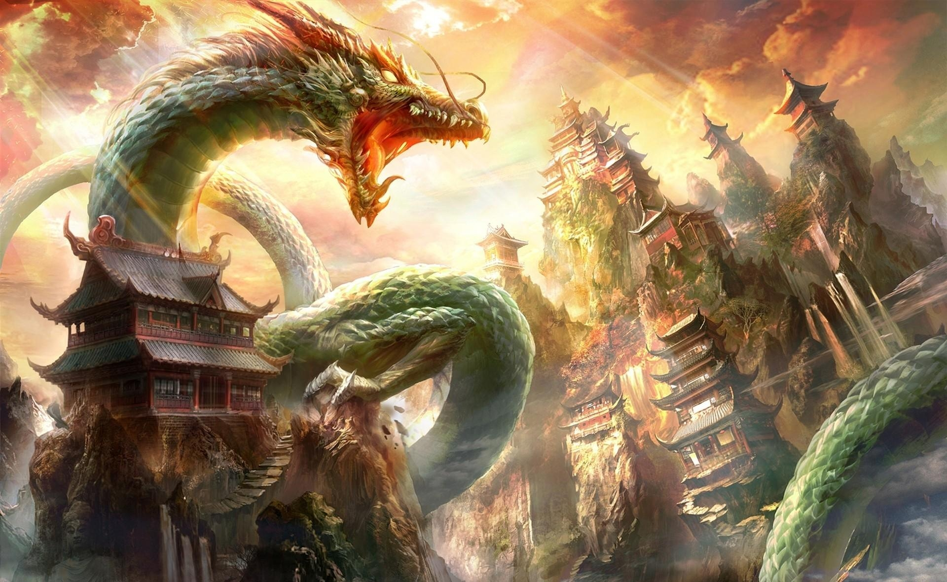67844 download wallpaper Houses, Fantasy, Sky, Beams, Rays, To Fall, Mouth, Dragon screensavers and pictures for free
