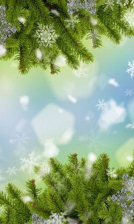 23666 скачать обои Праздники, Новый Год (New Year), Елки, Снежинки - заставки и картинки бесплатно