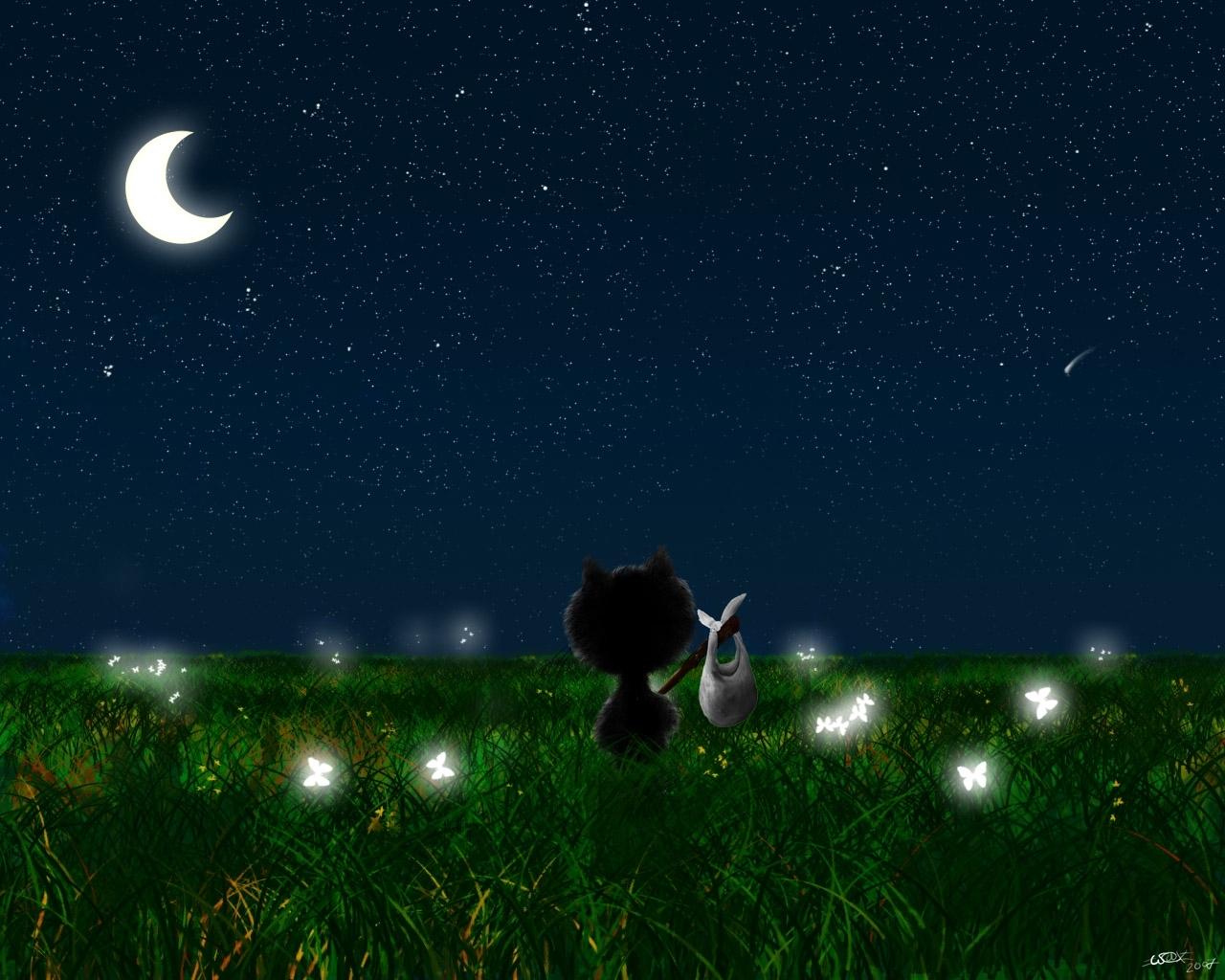 8866 免費下載壁紙 景观, 猫, 草, 夜, 月球, 图片 屏保和圖片