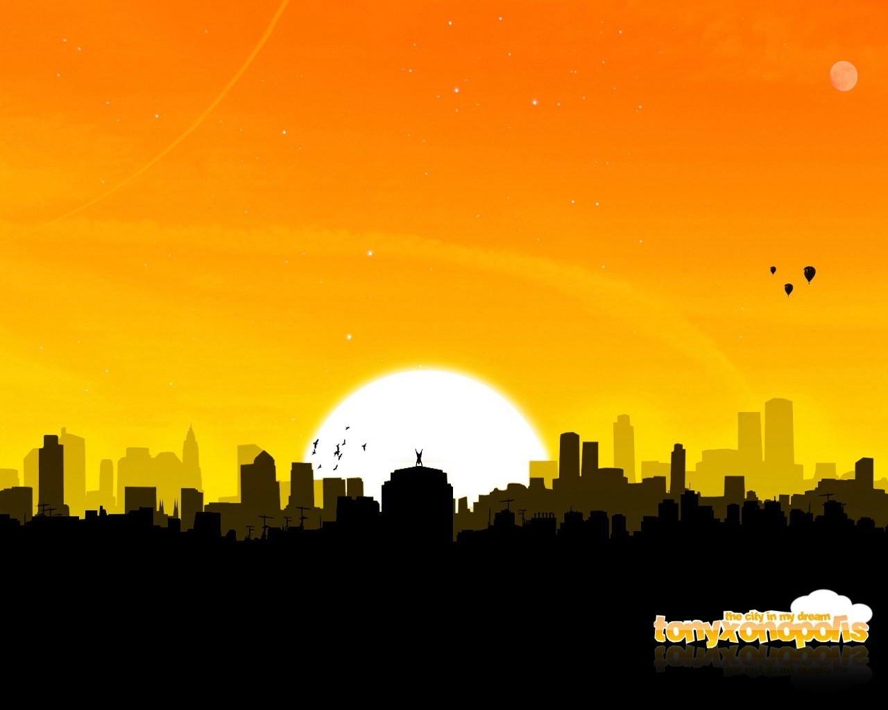12448 скачать обои Пейзаж, Города, Закат, Солнце - заставки и картинки бесплатно