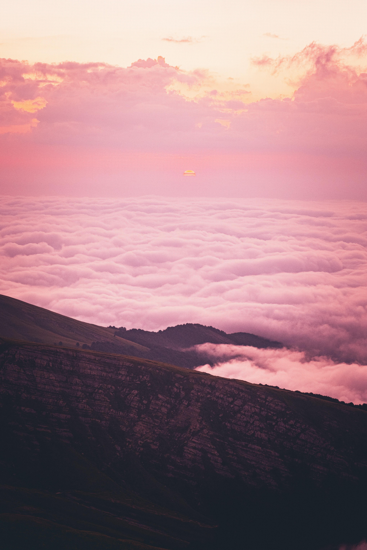 145299 скачать обои Природа, Склон, Холм, Облака, Закат, Розовый - заставки и картинки бесплатно
