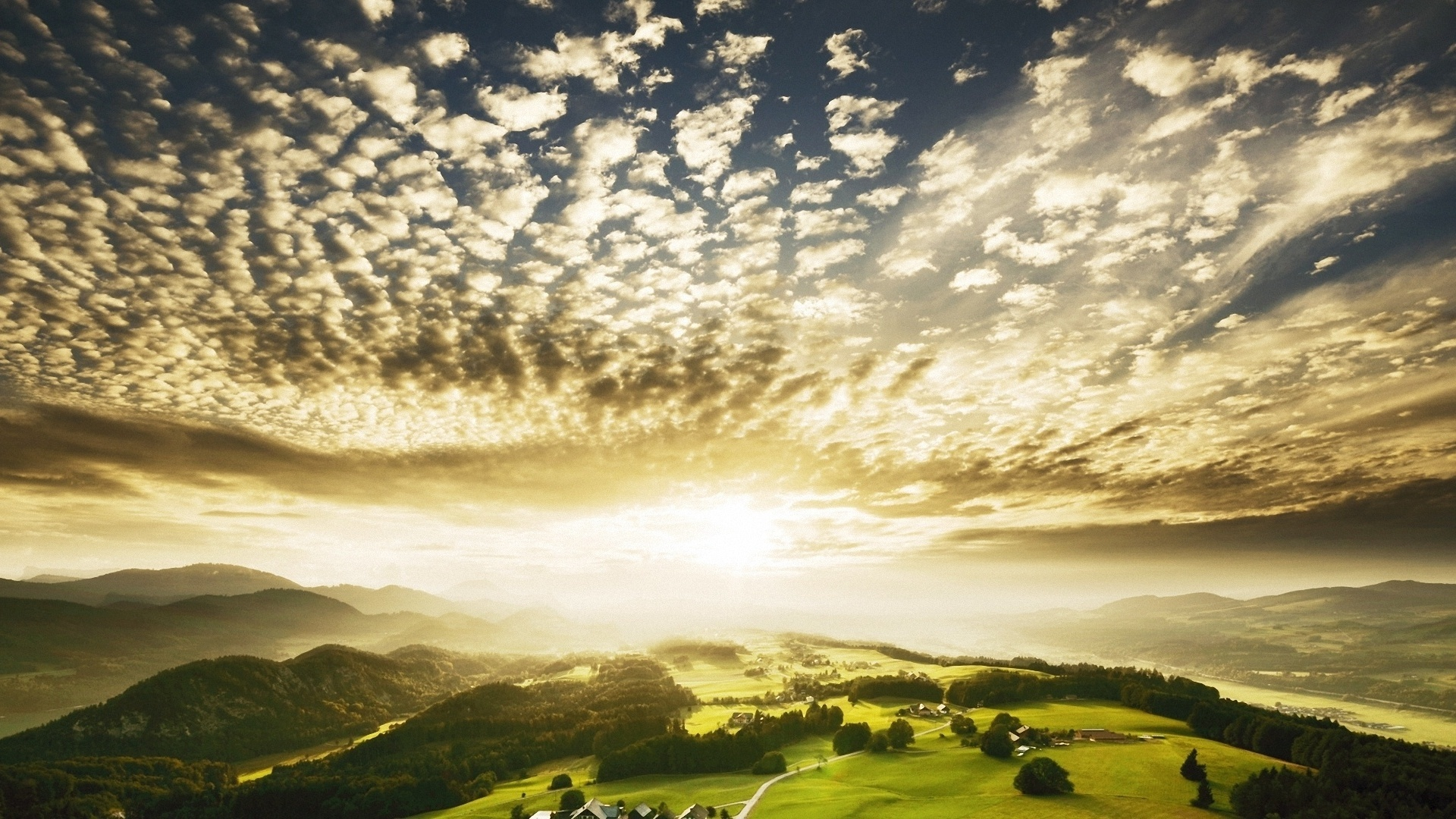 27695 скачать обои Пейзаж, Закат, Поля, Облака - заставки и картинки бесплатно