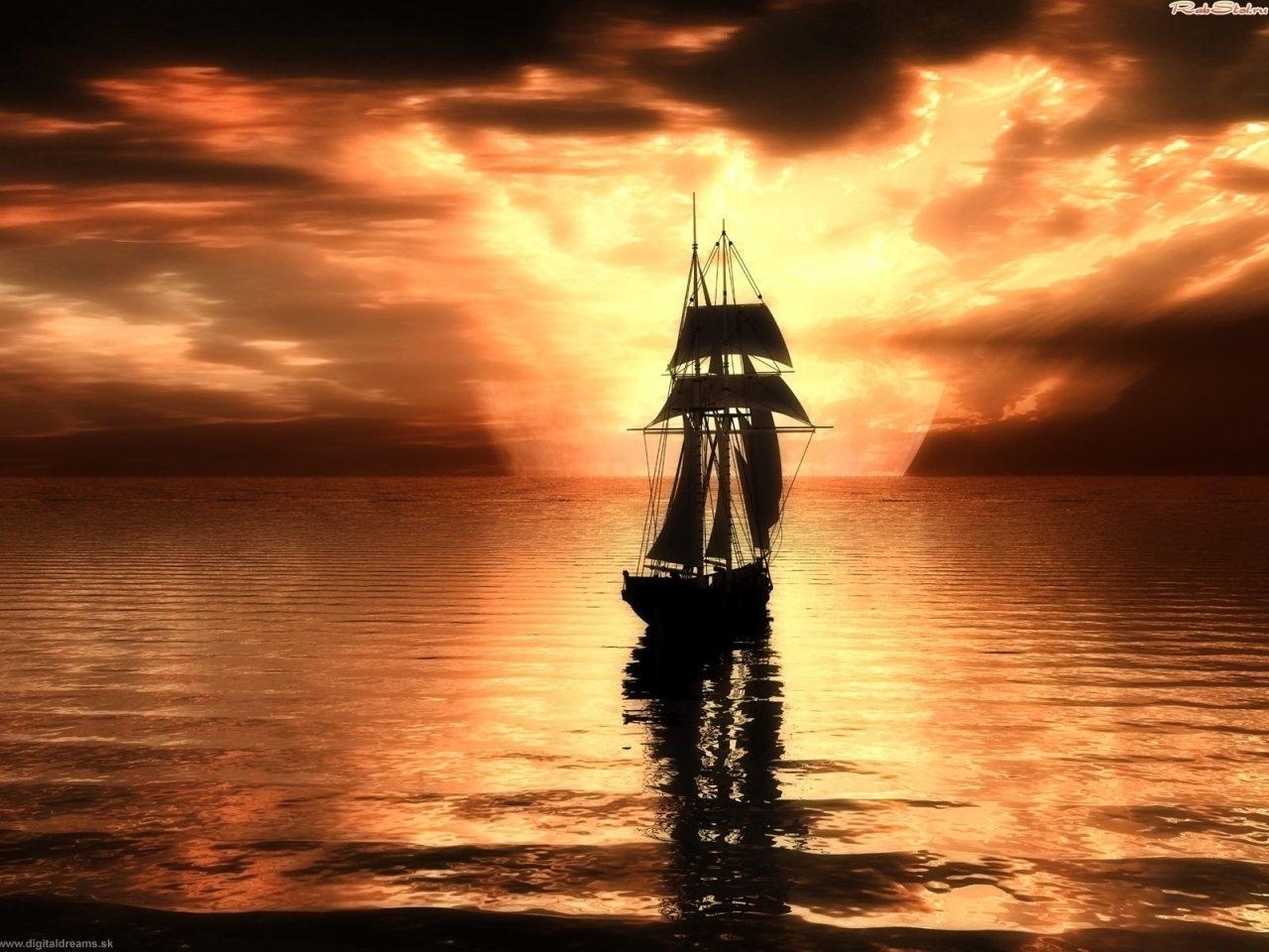 622 скачать обои Корабли, Пейзаж, Вода, Закат, Небо, Арт, Море - заставки и картинки бесплатно