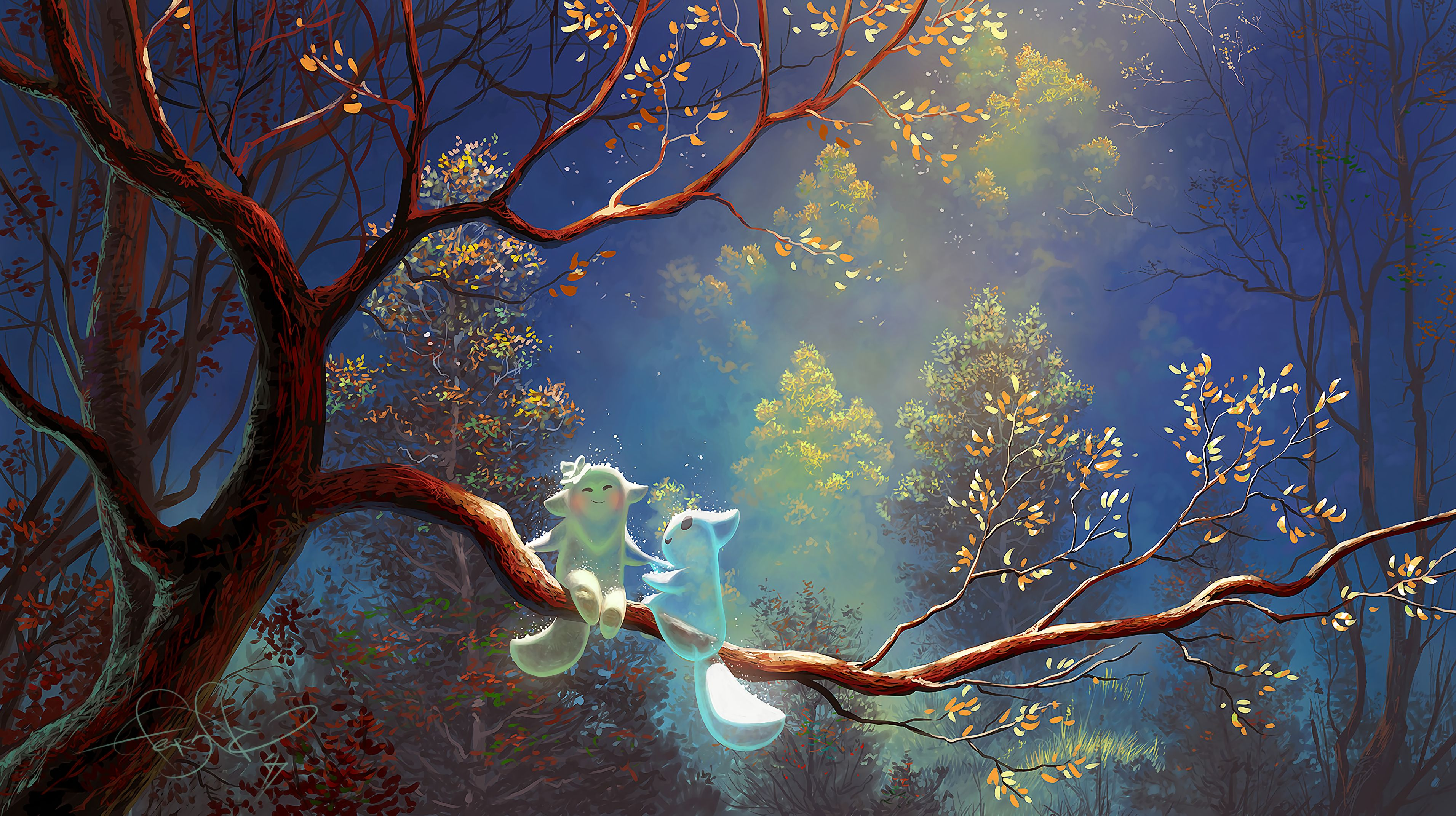 110964 download wallpaper Beasts, Wood, Tree, Branch, Magic, Art, Fantasy screensavers and pictures for free
