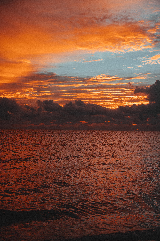65605 Hintergrundbild 480x800 kostenlos auf deinem Handy, lade Bilder Natur, Sunset, Sky, Sea, Clouds, Waves, Horizont, Wellen, Ripple 480x800 auf dein Handy herunter