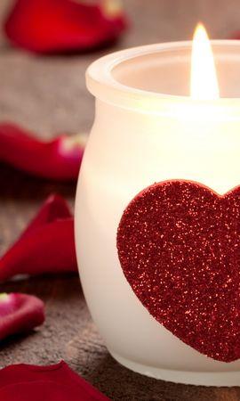 18112 скачать обои Праздники, Сердца, Любовь, День Святого Валентина (Valentine's Day), Свечи - заставки и картинки бесплатно