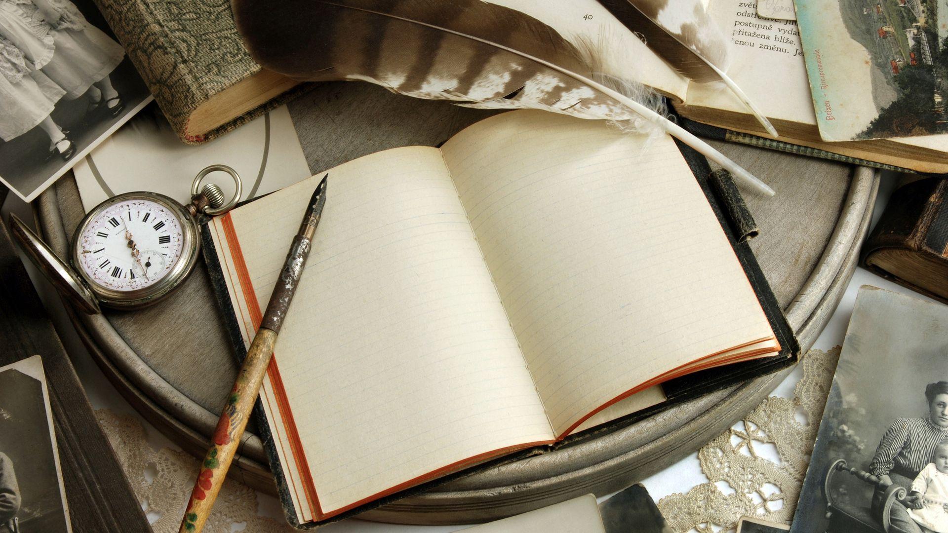 52286 скачать обои Разное, Книга, Тетрадь, Ручка, Перья, Часы - заставки и картинки бесплатно