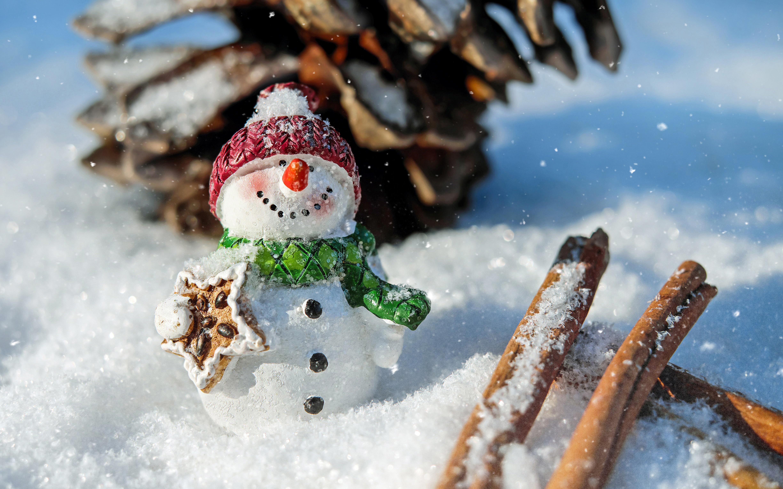 156216 Salvapantallas y fondos de pantalla Año Nuevo en tu teléfono. Descarga imágenes de Vacaciones, Monigote De Nieve, Muñeco De Nieve, Nieve, Cono, Chichón, Navidad, Año Nuevo, Canela gratis
