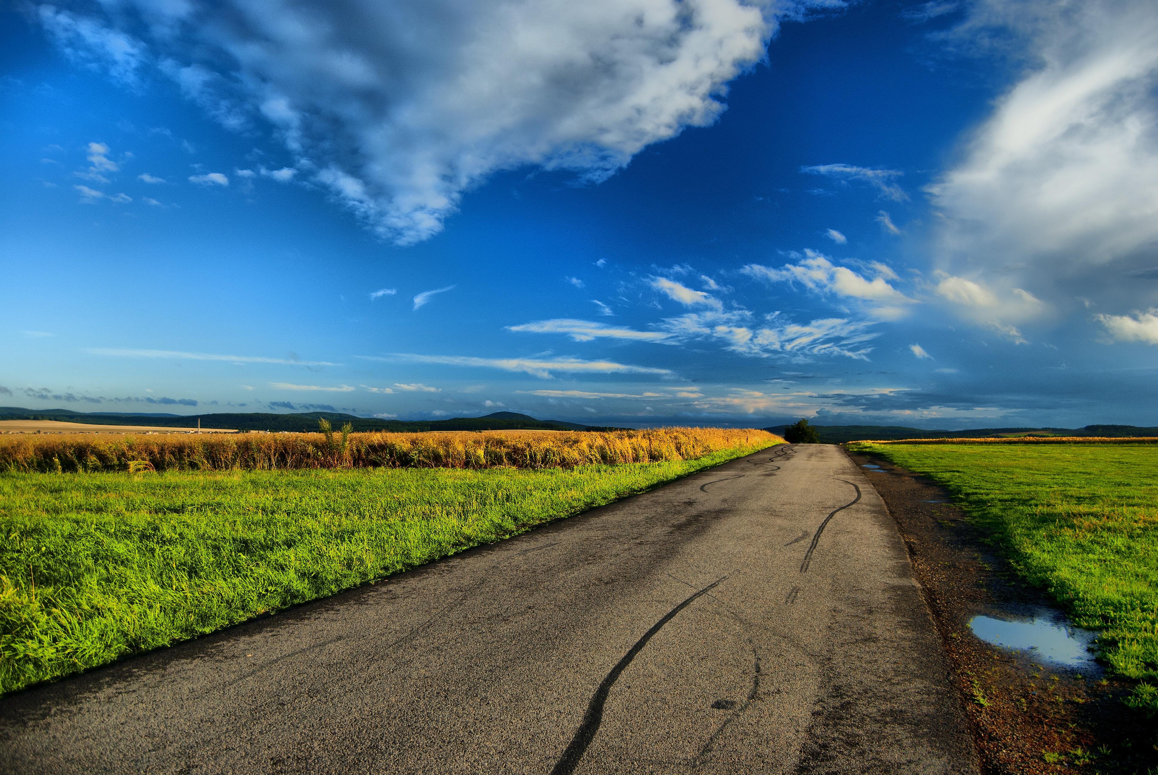 103222 Hintergrundbild 240x400 kostenlos auf deinem Handy, lade Bilder Landschaft, Natur, Straße, Feld, Pfützen 240x400 auf dein Handy herunter
