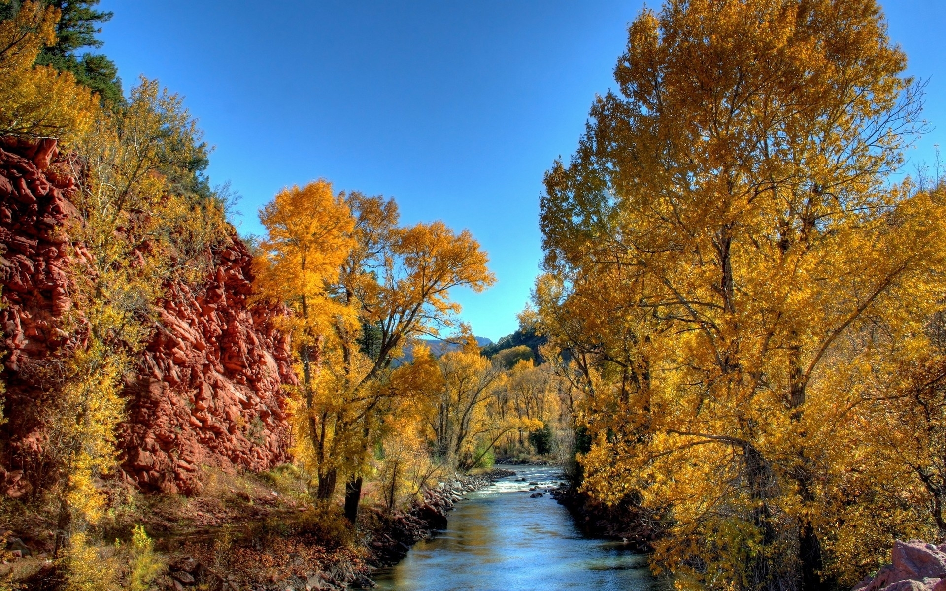 Download mobile wallpaper Autumn, Trees, Rivers, Landscape for free.