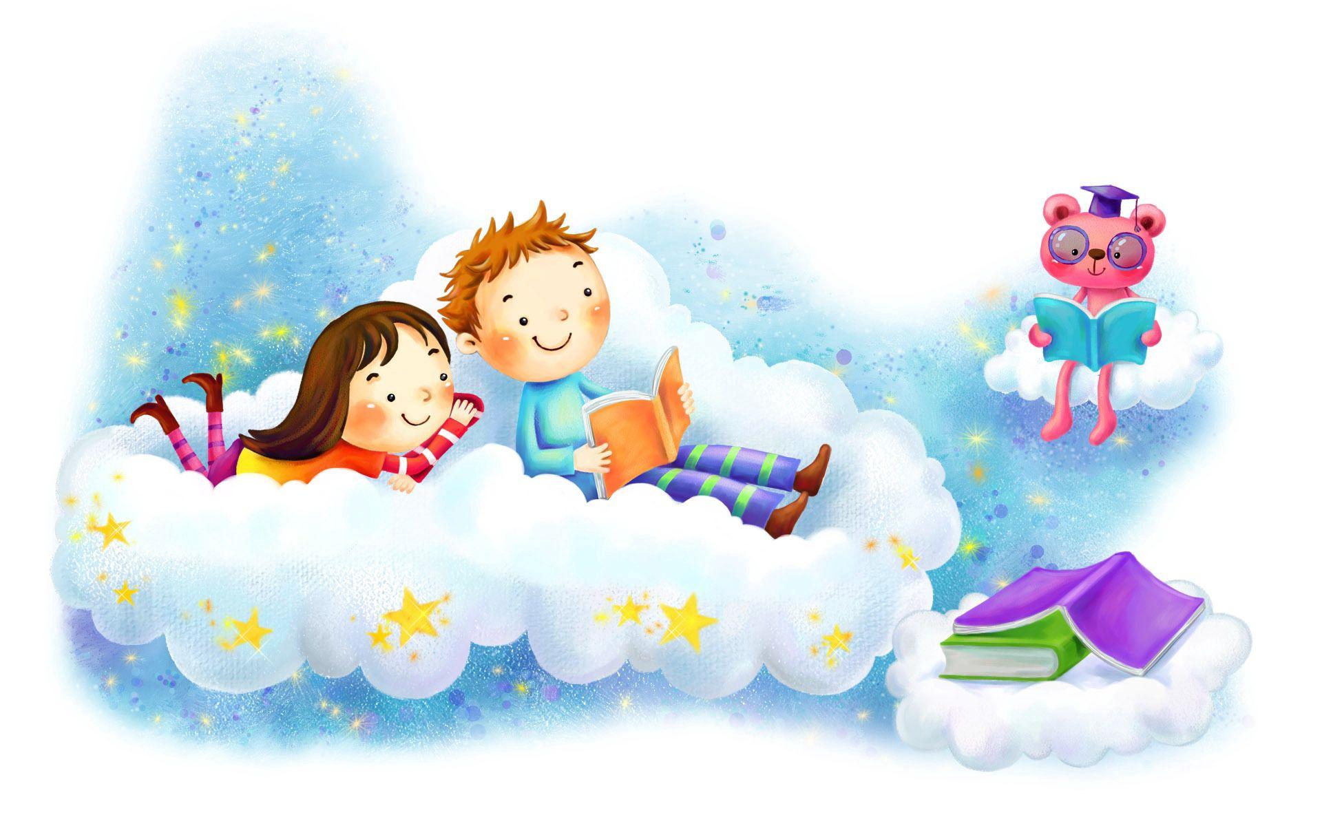 72735 скачать обои Любовь, Рисунок, Девочка, Мальчик, Облако, Фантазия, Книжки, Звёзды, Улыбки - заставки и картинки бесплатно