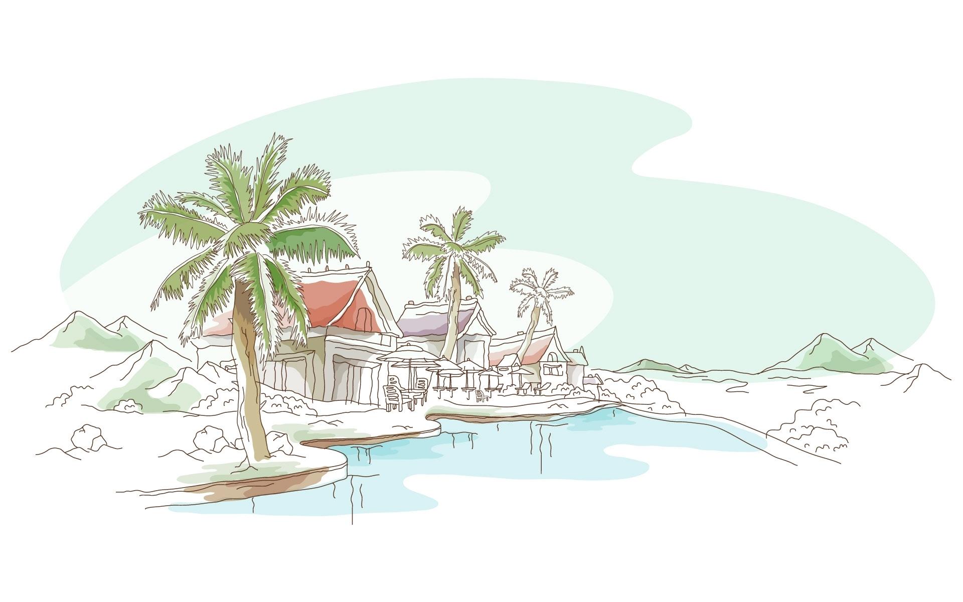 30204 скачать обои Пляж, Пальмы, Рисунки - заставки и картинки бесплатно