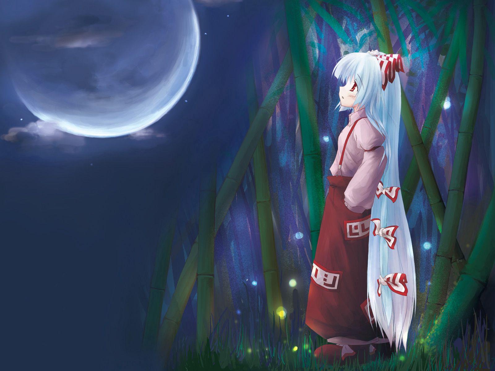 103035 скачать обои Аниме, Девочка, Задумчивая, Кимоно, Луна - заставки и картинки бесплатно