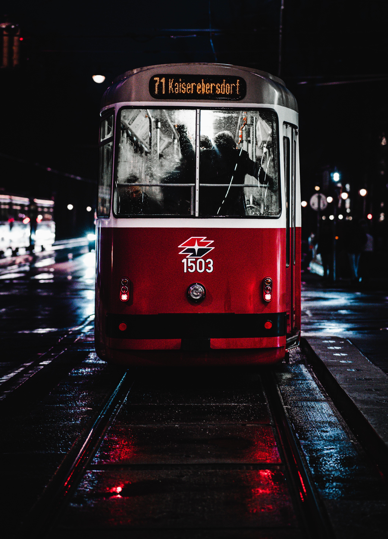 74058 скачать обои Транспорт, Трамвай, Ночь, Город, Разное - заставки и картинки бесплатно