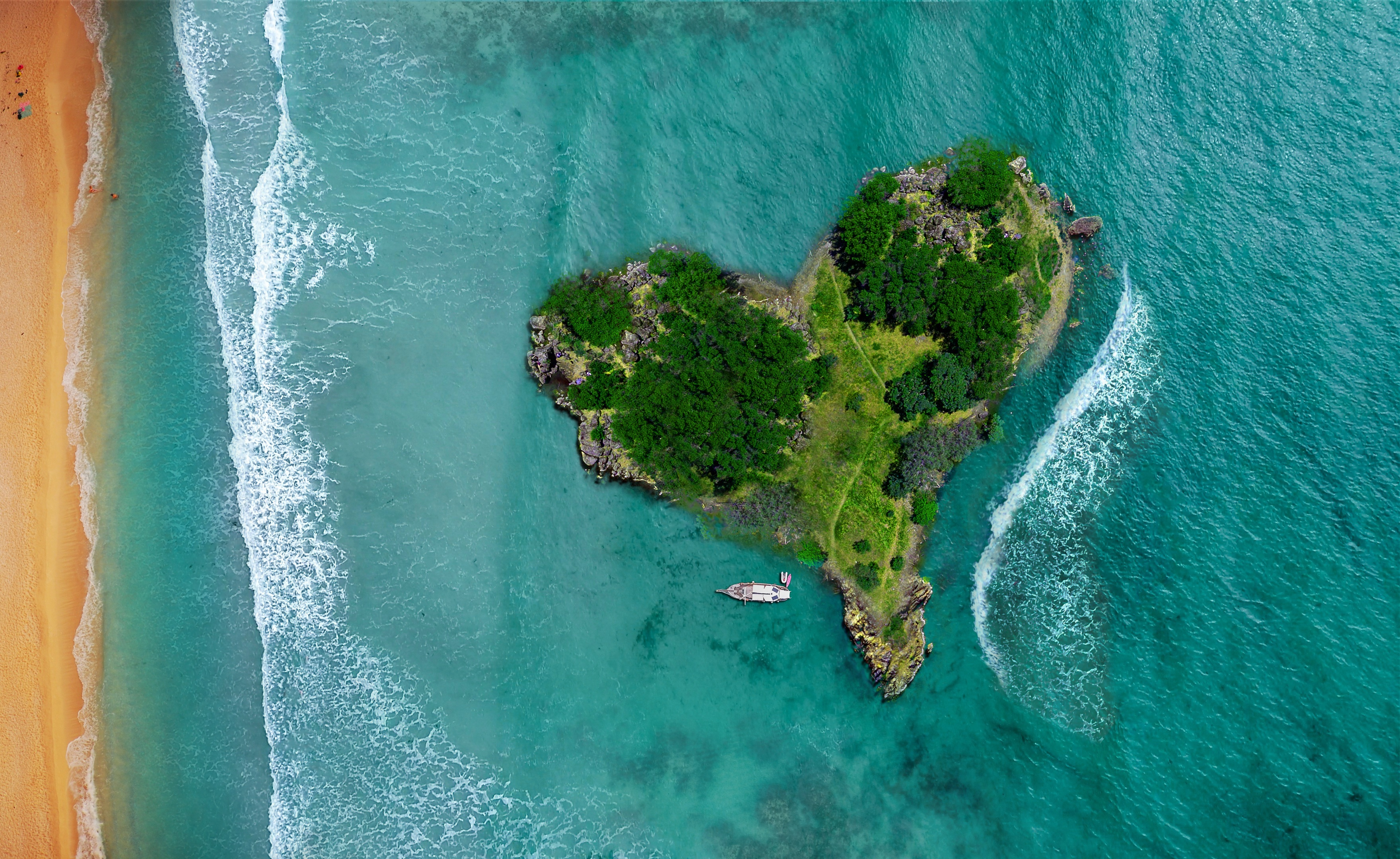 157118 download wallpaper Love, View From Above, Ocean, Island, Heart screensavers and pictures for free