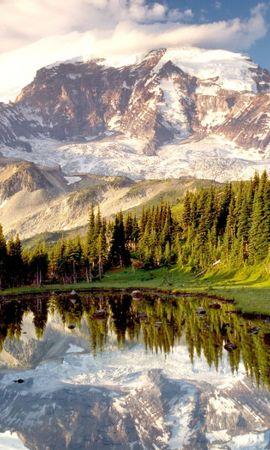 25270 скачать обои Пейзаж, Деревья, Горы, Озера - заставки и картинки бесплатно