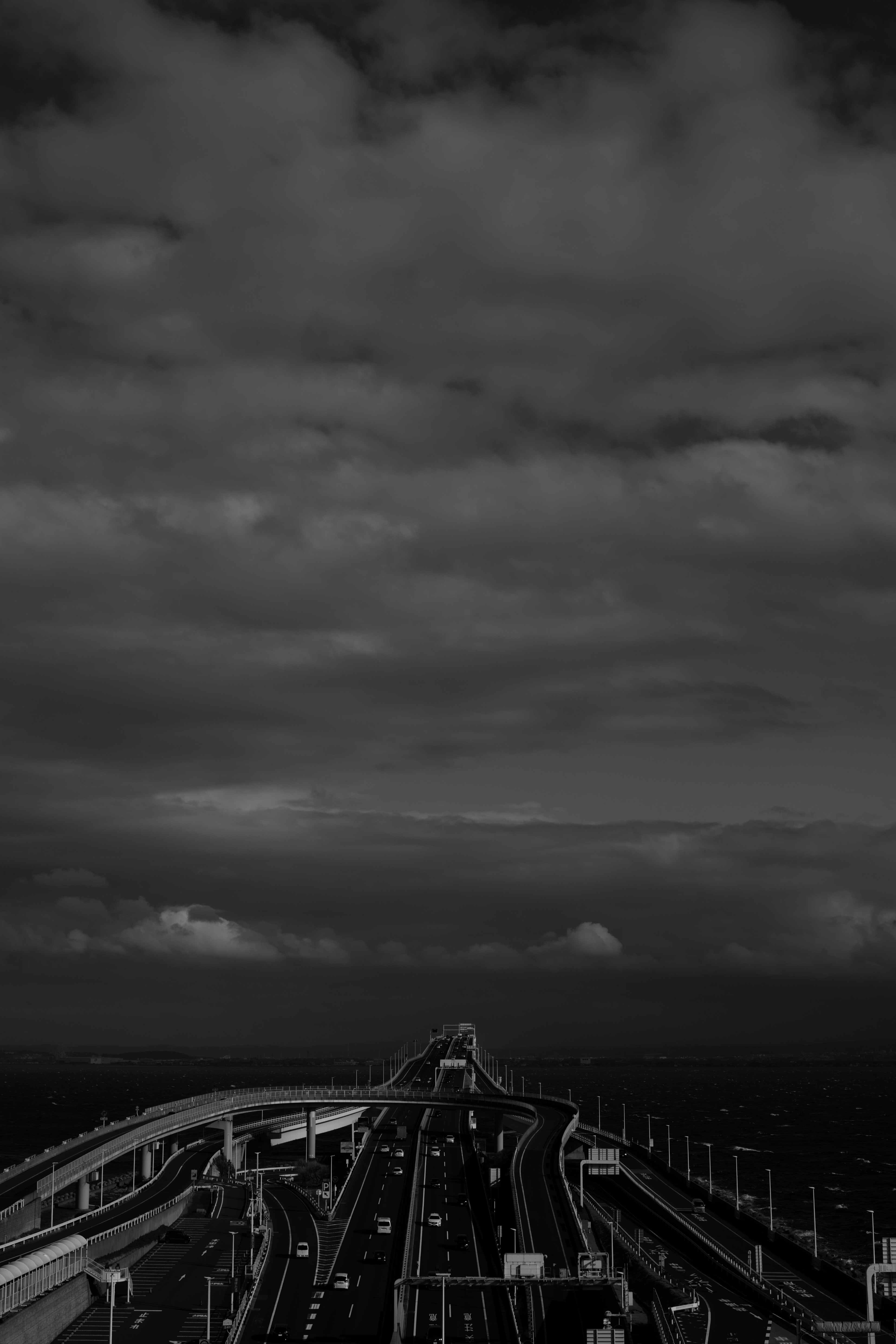 146446 Screensavers and Wallpapers Roads for phone. Download Cities, Sky, Roads, Clouds, Dark, Bw, Chb, Highway pictures for free