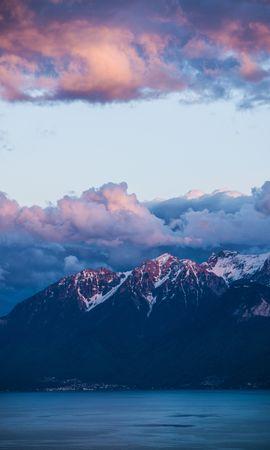 152110 скачать обои Природа, Облака, Вода, Берег, Горы, Пейзаж - заставки и картинки бесплатно