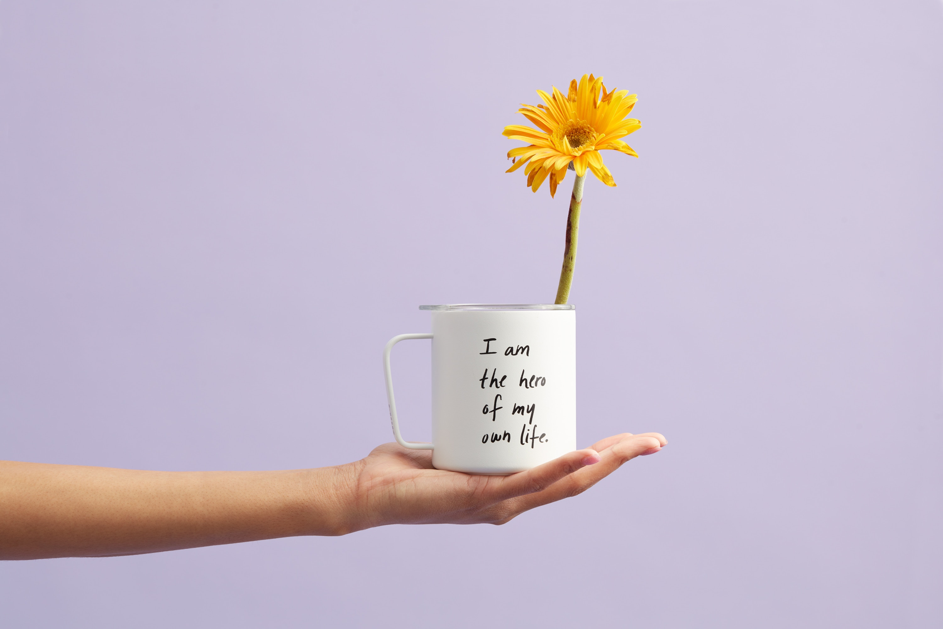 101634 Screensavers and Wallpapers Hand for phone. Download Words, Cup, Mug, Inscription, Self-Affirmation, Motivation, Flower, Hand pictures for free