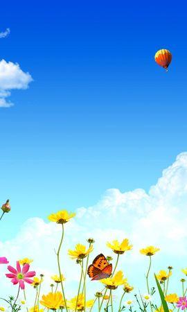 152004 descargar fondo de pantalla Vector, Cielo, Mariposas, Flores, Globos: protectores de pantalla e imágenes gratis